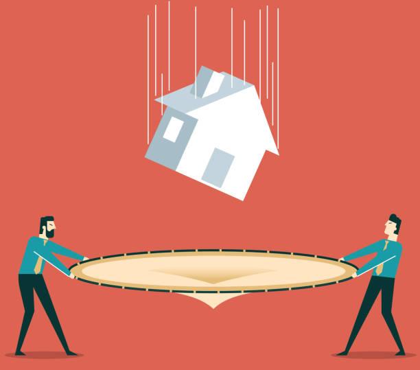 ilustraciones, imágenes clip art, dibujos animados e iconos de stock de disminución en el valor de casas - embargo hipotecario