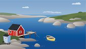 A solitary fisherman's house in a peaceful rocky harbor. AI CS2, EPS, and JPG included.