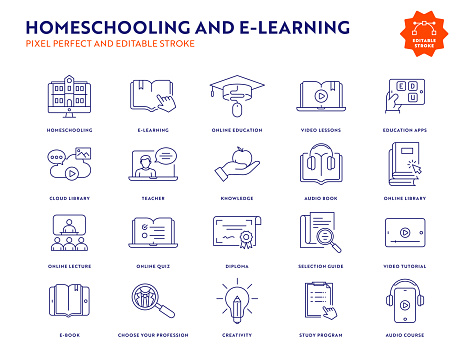 Homeschooling and E-Learning Line Icon Set with Editable Stroke.