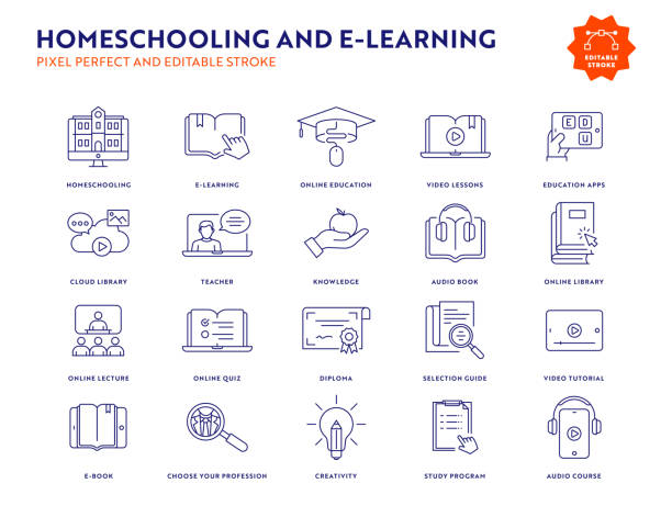 homeschooling und e-learning line icon set mit editierbarem strich. - homeschooling stock-grafiken, -clipart, -cartoons und -symbole