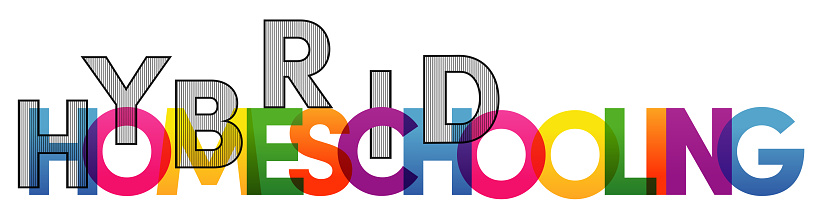 Homeschooling Hybrid word vector illustration. Colored rainbow text. Vector banner. Corporate concept. Gradient Text. Transparency Letters. Vector illustration