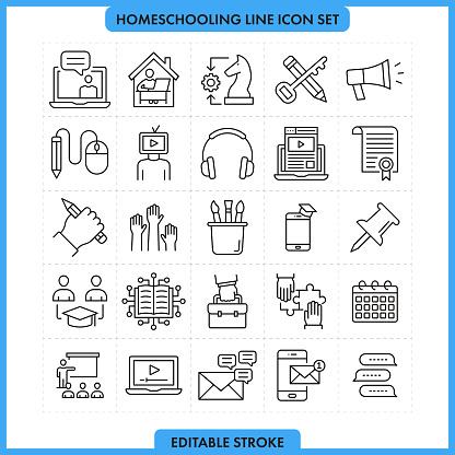 Homeschooling Line Icon Set Editable Stroke