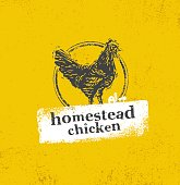 Homestead Chicken Locally Grown Organic Eco Food Rough Concept On Distressed Background
