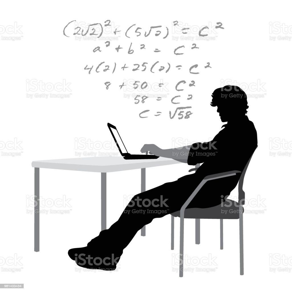 Hausaufgaben-Laptop – Vektorgrafik