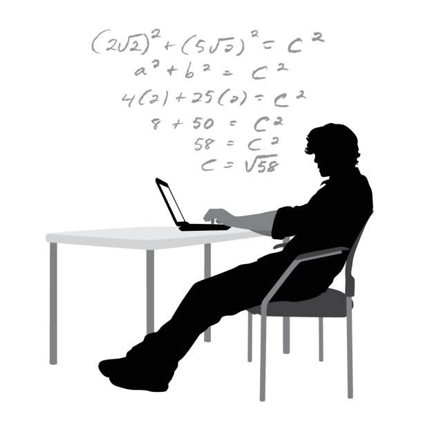 ilustrações, clipart, desenhos animados e ícones de laptop de lição de casa - college people laptop