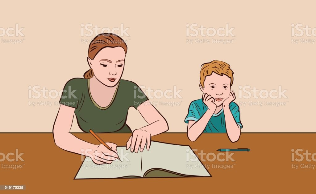 Homework vector art illustration