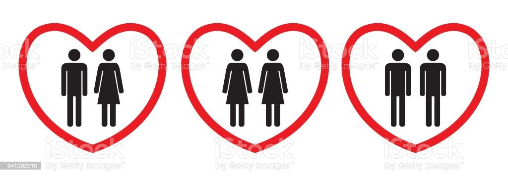 Homosexual and heterosexual love icons. vector art illustration