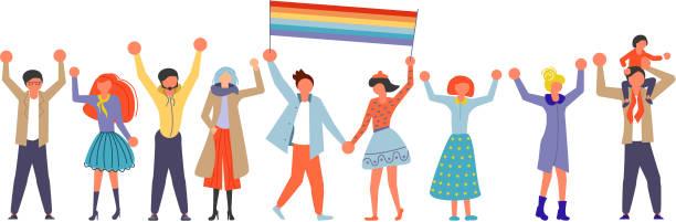 bildbanksillustrationer, clip art samt tecknat material och ikoner med homosexuella gemenskapen på love parade. - parad