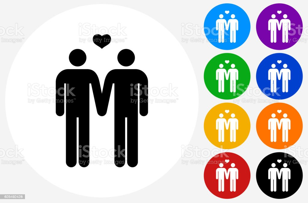 Homosexual Couple Icon on Flat Color Circle Buttons vector art illustration