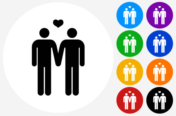 Homosexual Couple Icon on Flat Color Circle Buttons - ilustración de arte vectorial