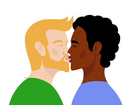 Homosexual couple kissing