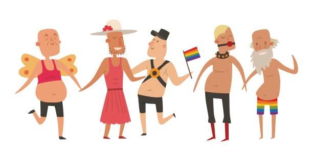 ilustrações, clipart, desenhos animados e ícones de homem de casamento homossexual pessoas gays e lésbicas, mulher casais família e cores amor livre cerimônia comunitária caracteres tolerância símbolo ilustração vetorial - casais do mesmo sexo