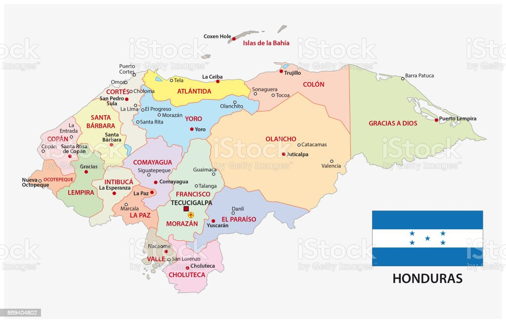 Honduras Administrative And Political Map With Flag Stock Vector Art
