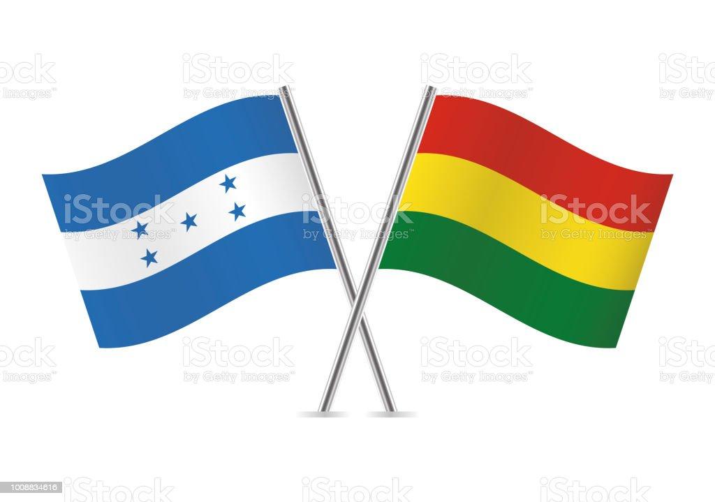 Banderas de Honduras y Bolivia. Ilustración de vector. - ilustración de arte vectorial