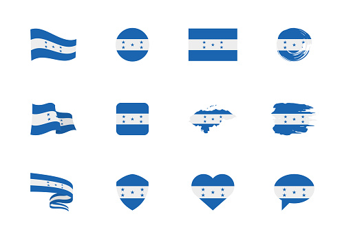 Honduras flag - flat collection. Flags of different shaped twelve flat icons.