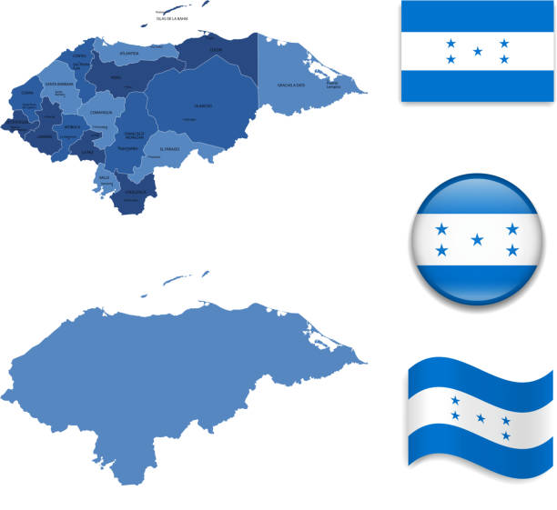 Honduras Map and Flag Collection Honduras Map and Flag Collection honduras stock illustrations