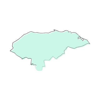Honduras map hand drawn on white background - Trendy design