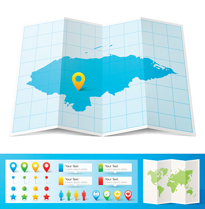 Honduras Map with location pins isolated on white Background