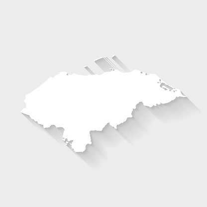 Honduras map with long shadow on blank background - Flat Design
