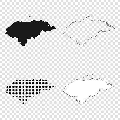 Honduras maps for design - Black, outline, mosaic and white