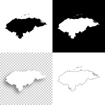 Honduras maps for design - Blank, white and black backgrounds