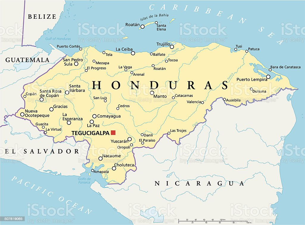 Honduras Political Map vector art illustration
