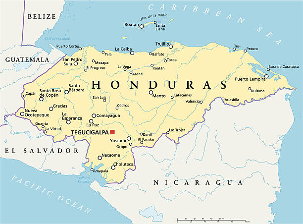 Honduras Political Map Political map of Honduras with capital Tegucigalpa, with national borders, most important cities, rivers and lakes. Illustration with English labeling and scaling. honduras stock illustrations