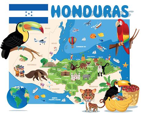 Honduras Travel Map,Tegucigalpa, San Pedro Sula, Choloma, La Ceiba, El Progreso, Ciudad Choluteca, Comayagua, Puerto Cortez, La Lima, Danlí, Siguatepeque, Juticalpa, Villanueva, Tocoa, Tela, Santa Rosa de Copán, Olanchito, San Lorenzo, Cofradía