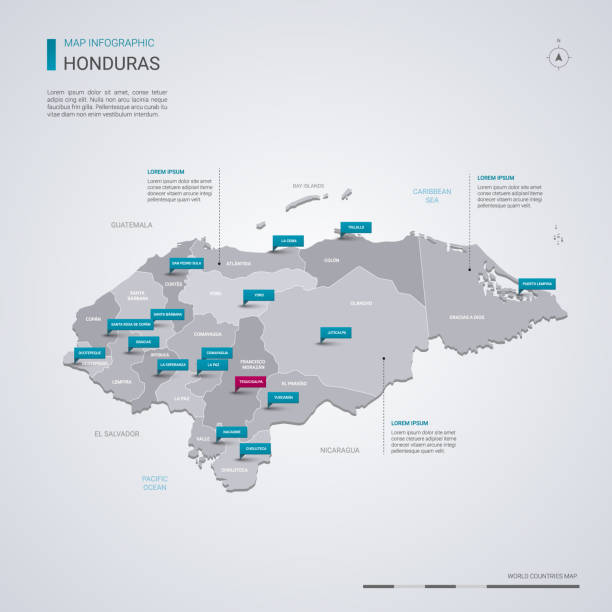 Honduras vector map with infographic elements, pointer marks. Honduras vector map with infographic elements, pointer marks. Editable template with regions, cities and capital Tegucigalpa. honduras stock illustrations