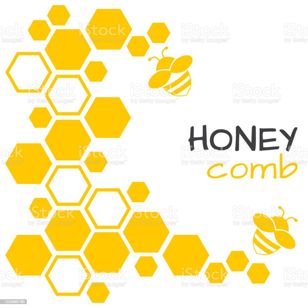 Honey Abstract Background With Honeycomb And Bee Vector