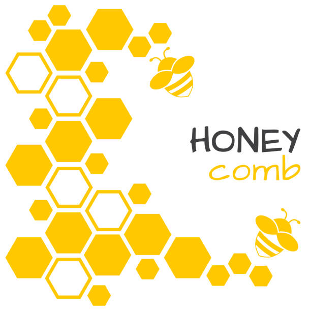 illustrazioni stock, clip art, cartoni animati e icone di tendenza di honey abstract background with honeycomb and bee. vector illustration - miele dolci