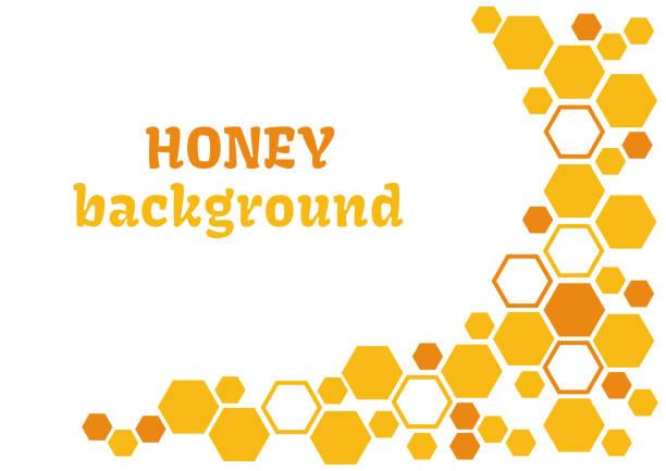 honig-abstrakten hintergrund mit gelben und orangen waben. vektor-illustration. - bienenwachs stock-grafiken, -clipart, -cartoons und -symbole