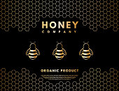 Honey logo for company or label backgroundHoney logo for company or label background