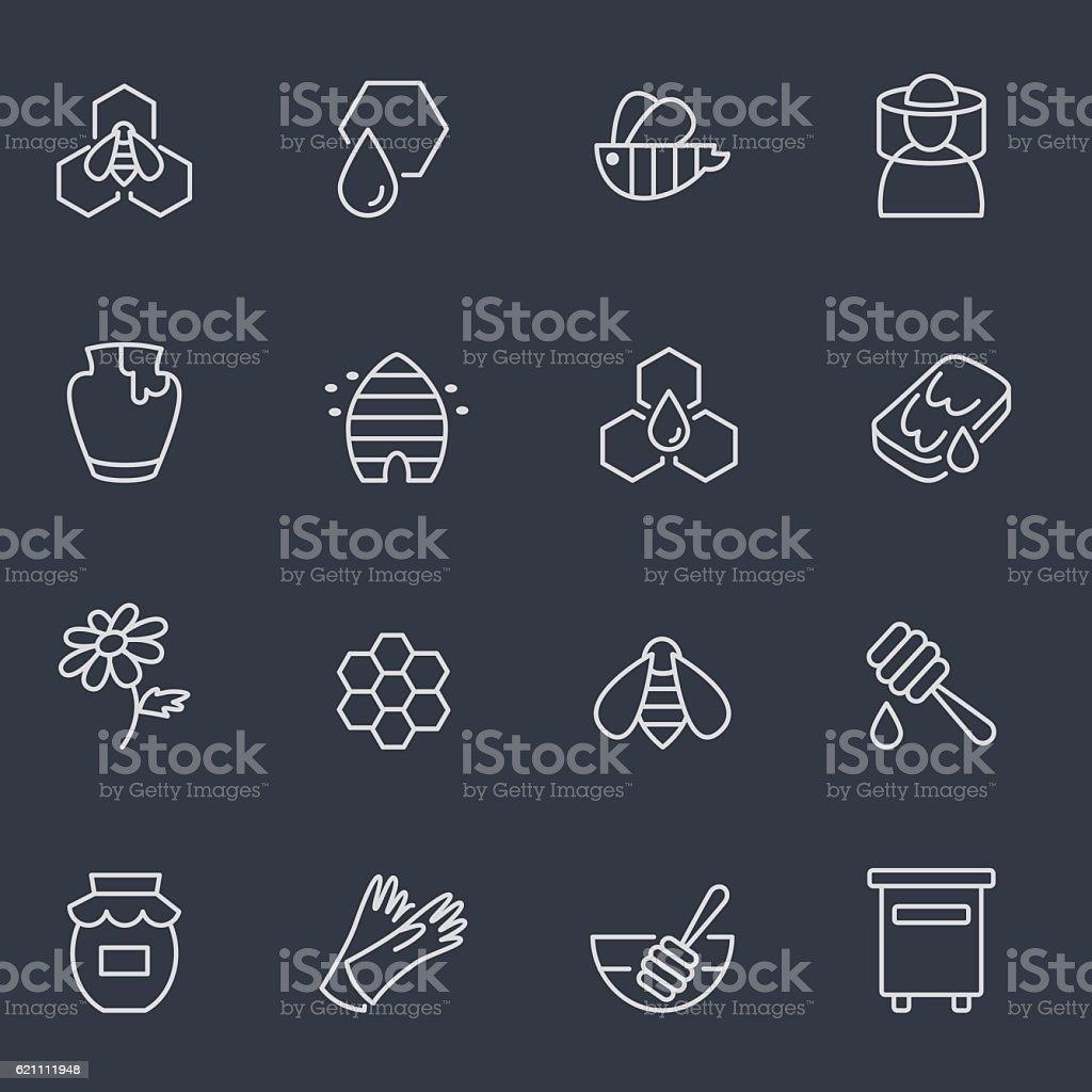 Icônes de miel et même de l'apiculture - Illustration vectorielle