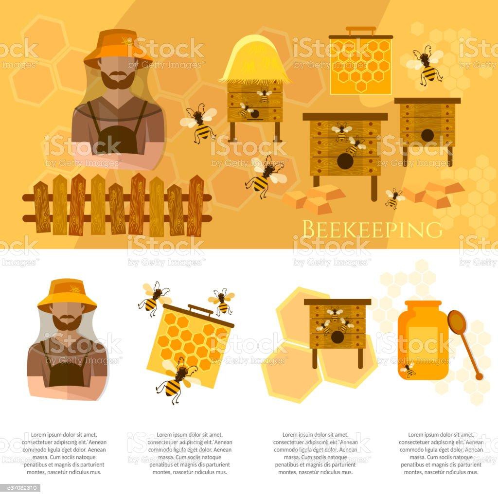 Miel et de l'apiculture industrie Infographie sur rucher Apiculteur - Illustration vectorielle