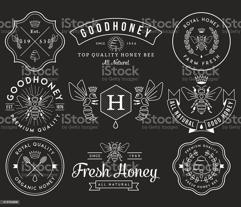 Honey and Bees 2 White vector art illustration
