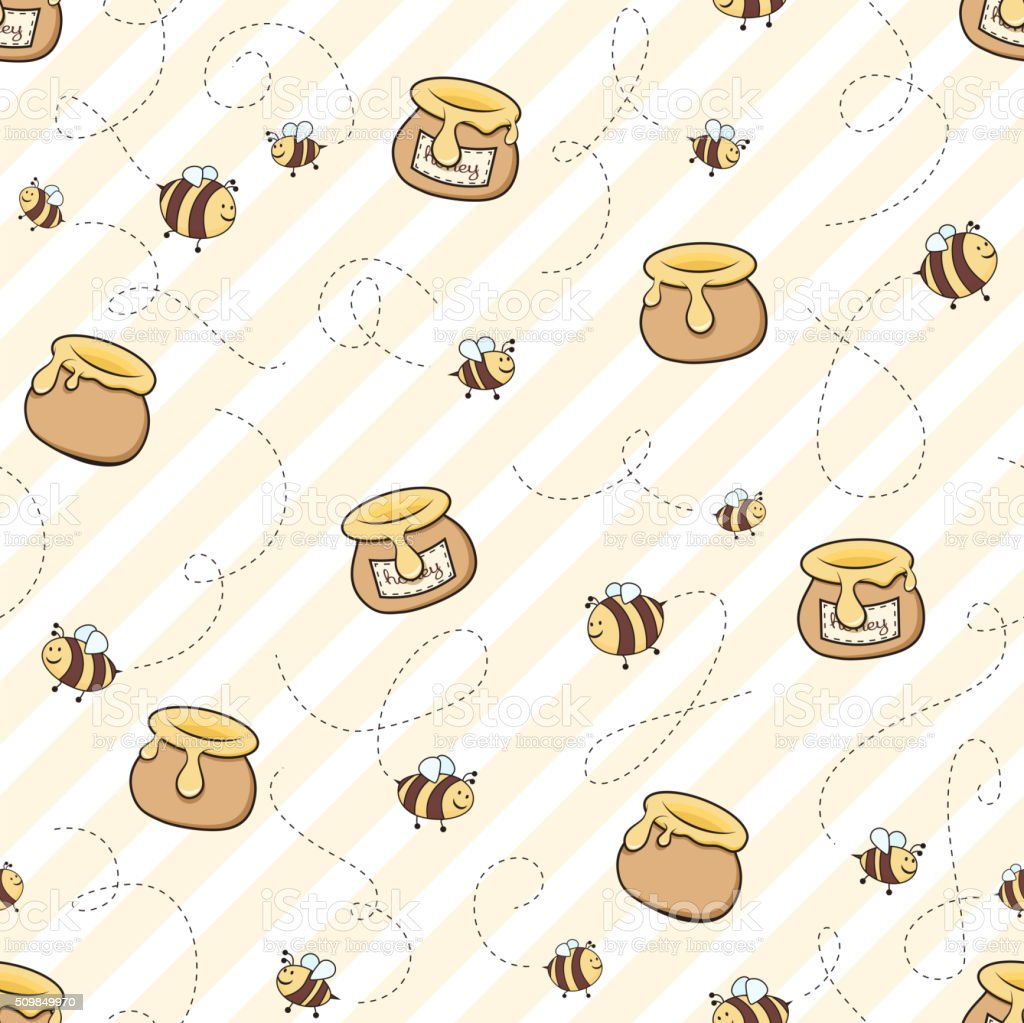 Honey and bees vector art illustration