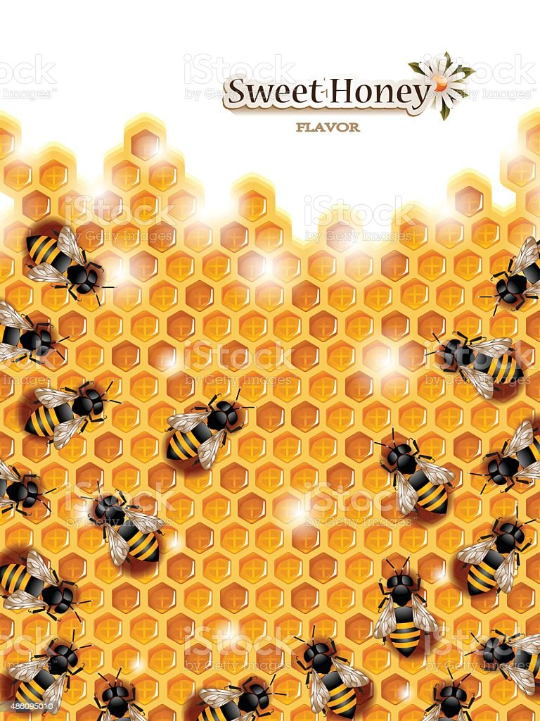 Honey Background with Bees Working on a Honeycomb vector art illustration