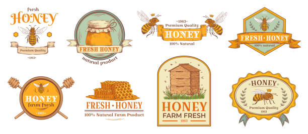 illustrazioni stock, clip art, cartoni animati e icone di tendenza di honey badge. natural bee farm product label, organic beekeeping pollen and bees hive emblem badges vector illustration set - miele