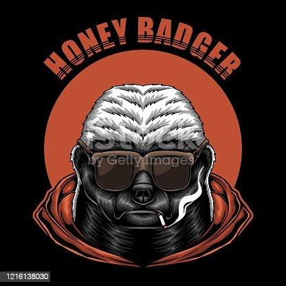 Honey badger eyeglasses vector illustration for your company or brand