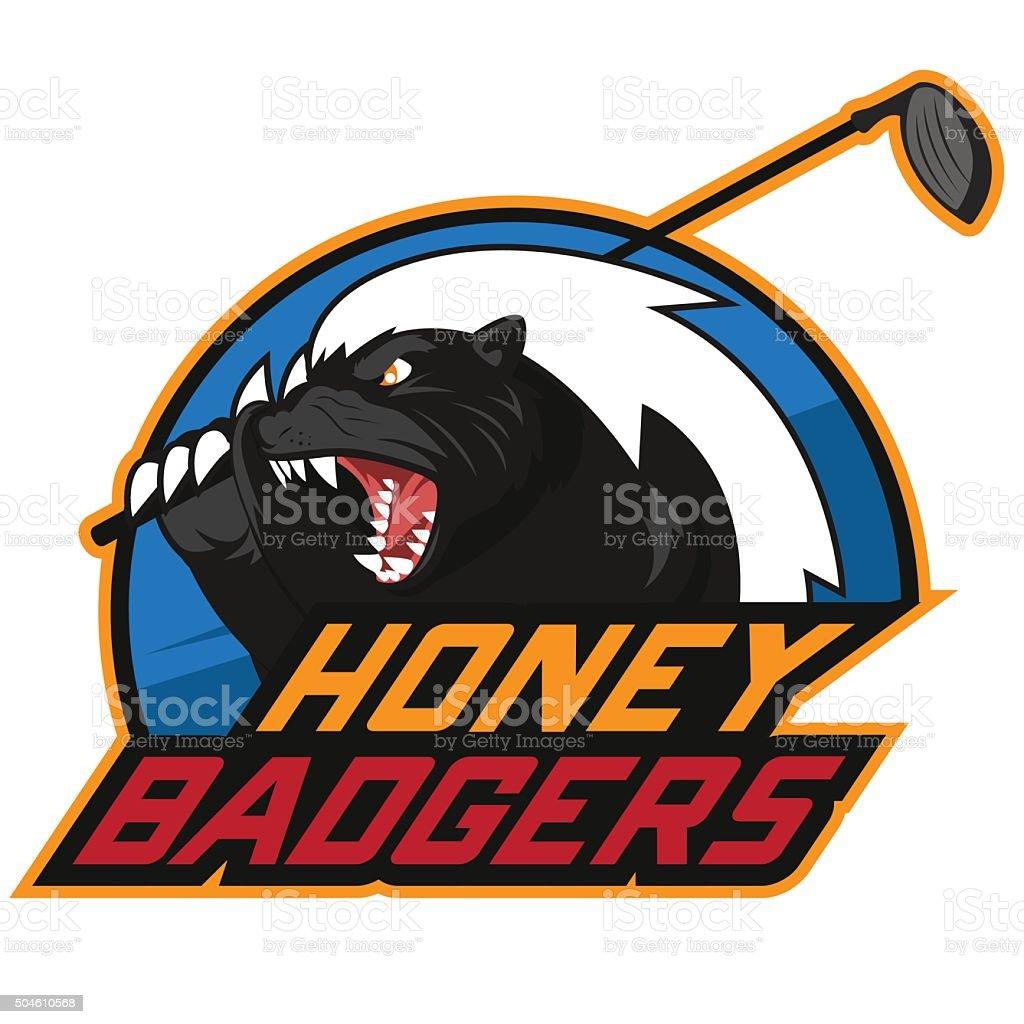 Honey badger golf vector art illustration