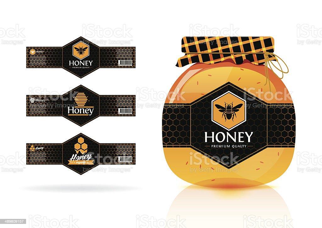 Honey banner - sticker design vector art illustration