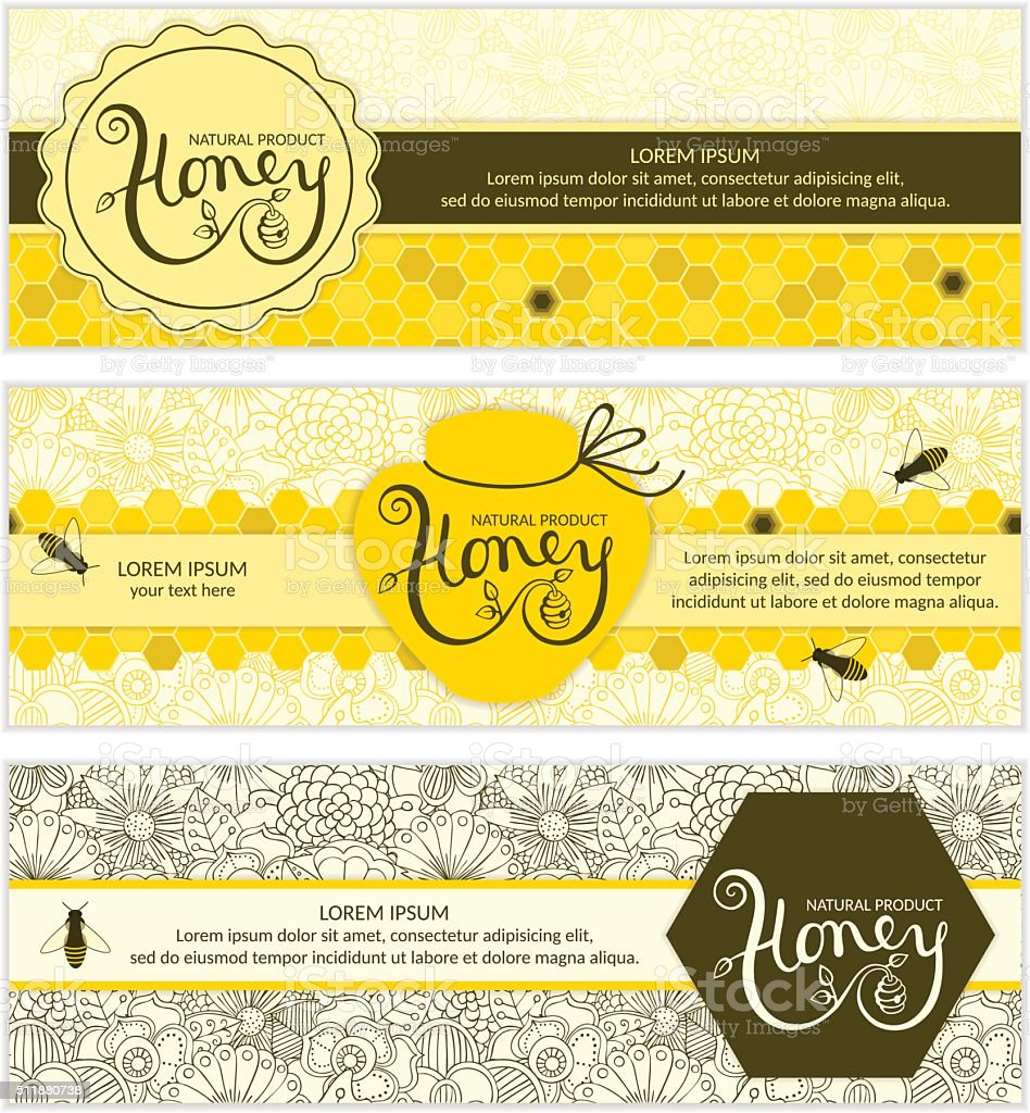 Honey banners. vector art illustration