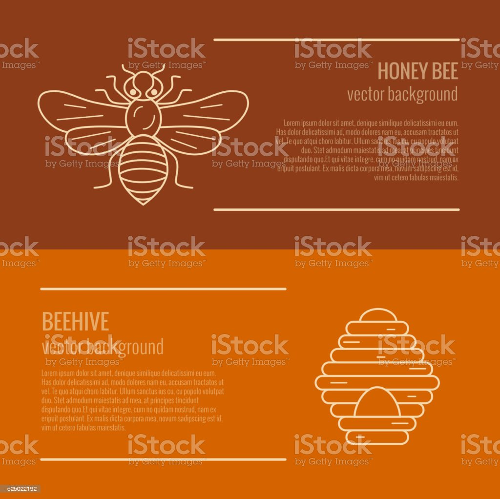 Honey bee and beehive banner. vector art illustration