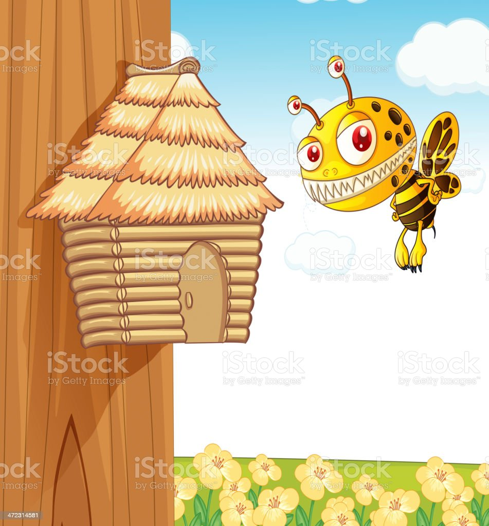 Honey bee and wooden house royalty-free honey bee and wooden house stock vector art & more images of animal