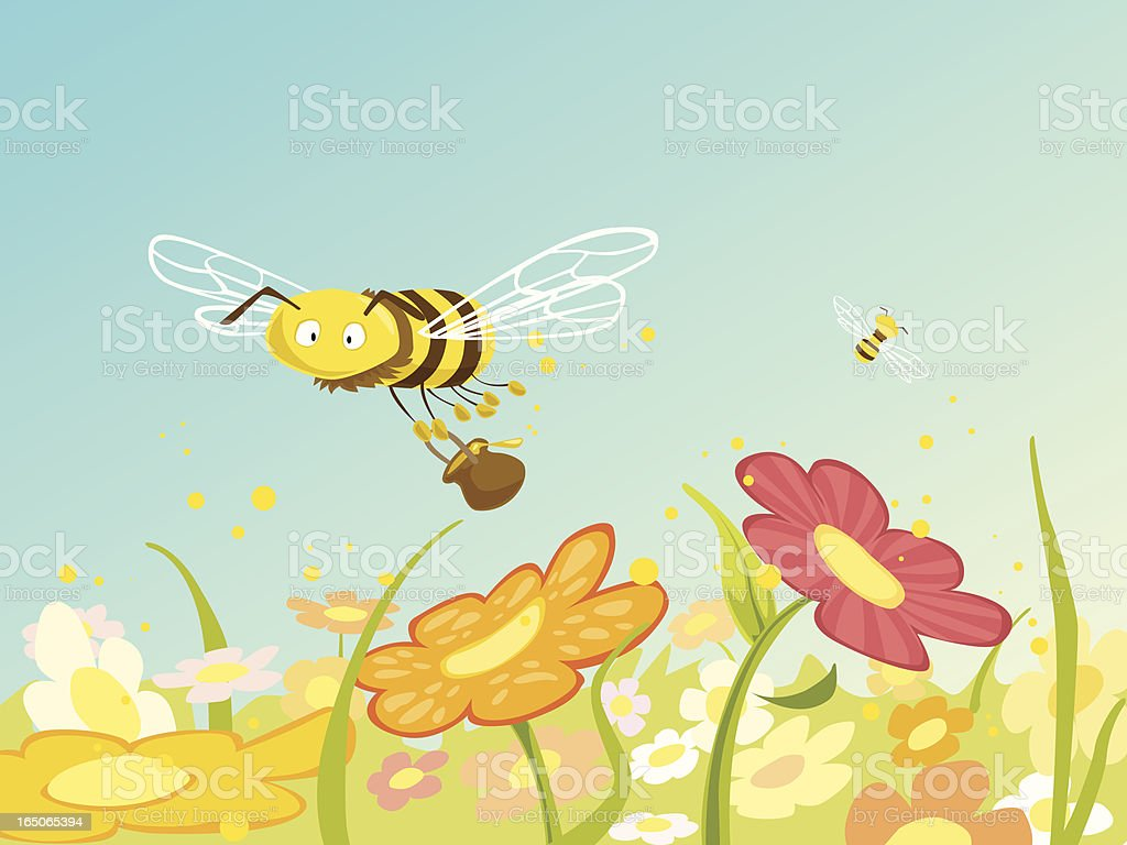 Honey Bee at Work royalty-free honey bee at work stock vector art & more images of abundance