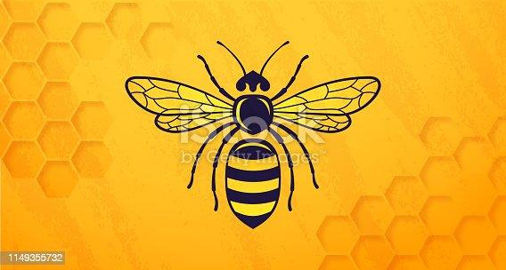 Honey bee beehive symbol yellow horizontal background.
