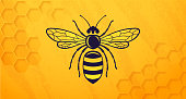 Honey bee beehive symbol yellow horizontal background.