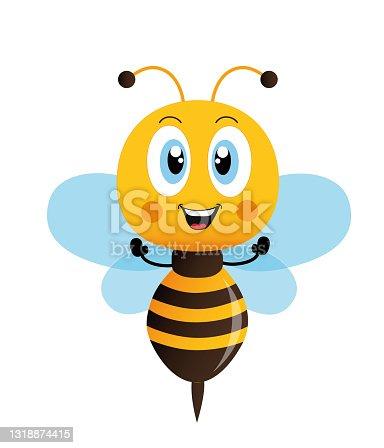 istock Honey Bee, Cartoon cute bee mascot. Vector illustration isolated 1318874415