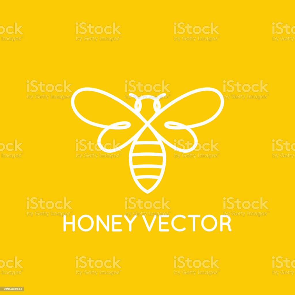 Honey bee concept - emblem for food packaging vector art illustration